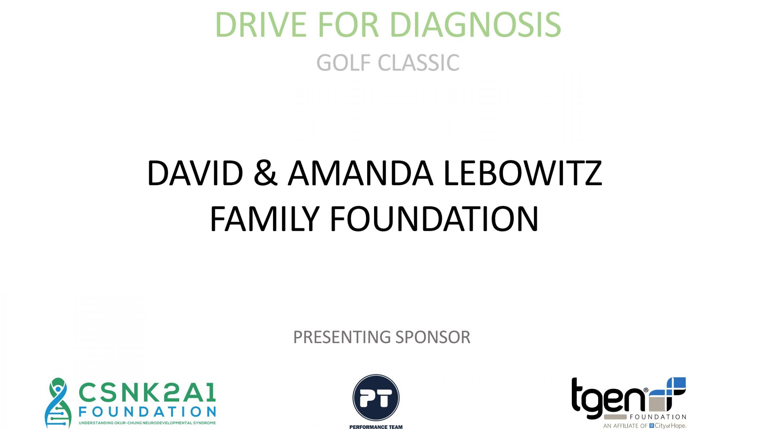 Presenting Sponsor - David & Amanda Lebowitz Family Foundation
