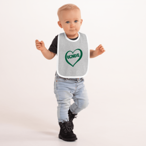 All Heart Embroidered Baby Bib in Heather Grey