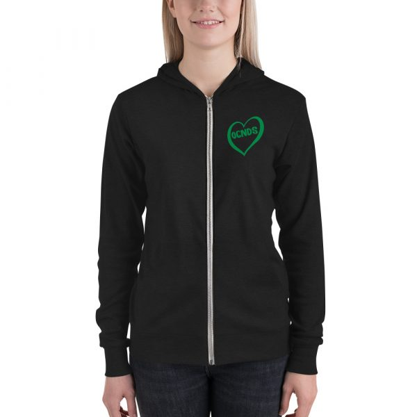 All Heart Lightweight Zipped Hoodie in Charcoal Black on female
