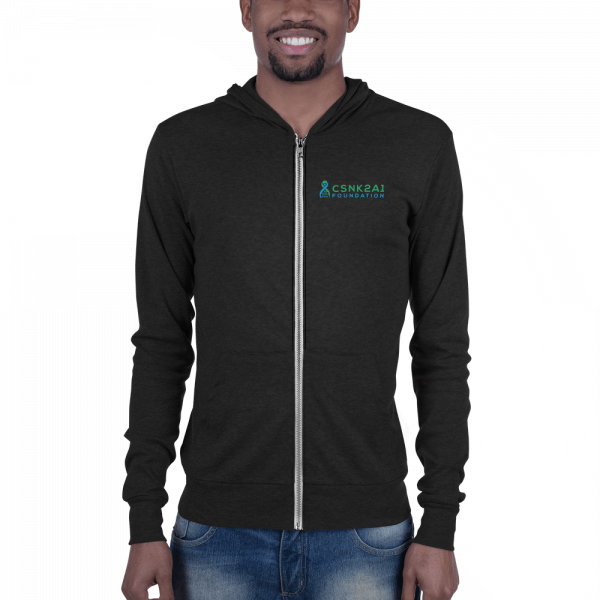 CSNK2A1 Foundation Lightweight Zipped Hoodie in Charcoal Black