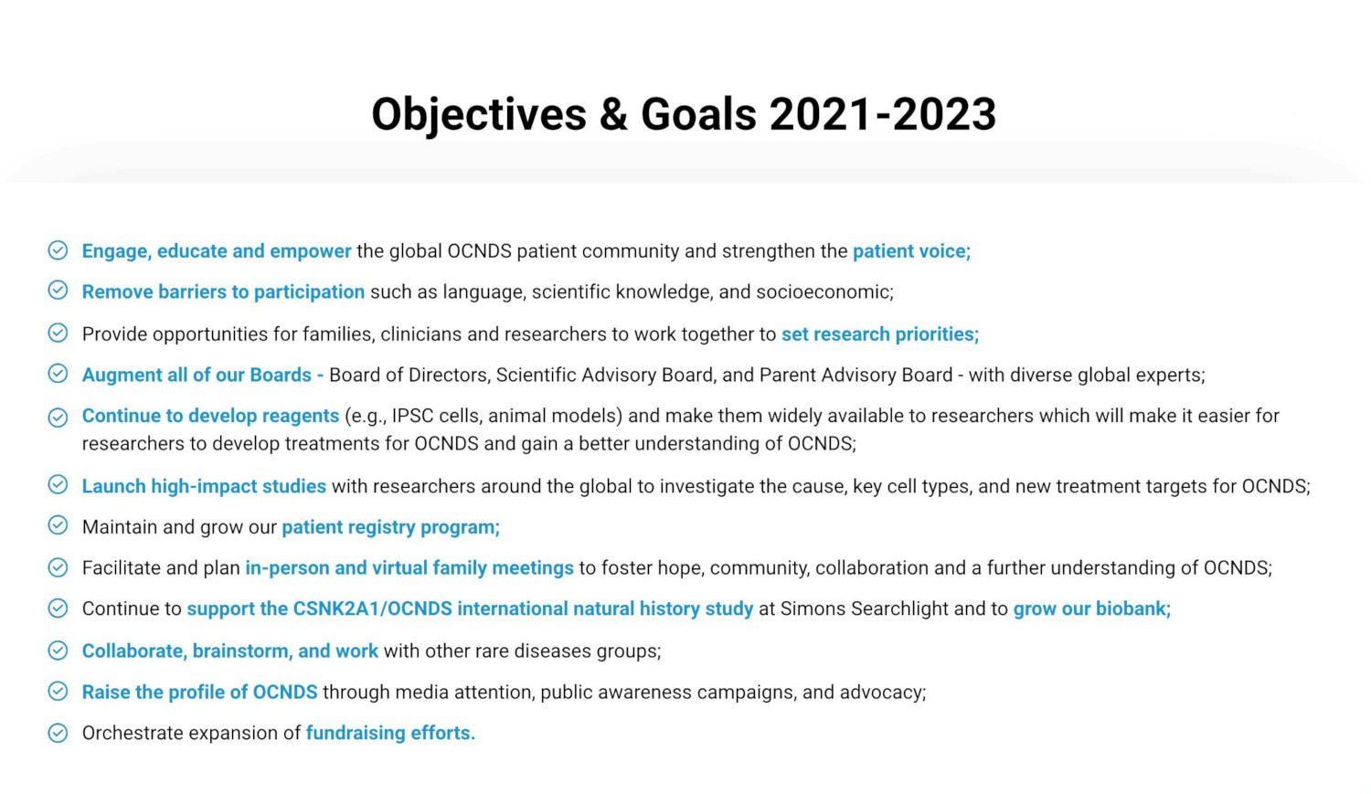 Objectives and Goals 2021-2023
